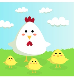 Chicken and chicks in Sunshiny Field vector image vector image