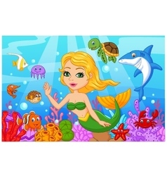 Cute mermaid cartoon with fish collection set vector image vector image