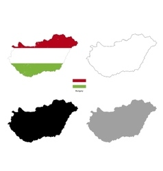 Hungary country black silhouette and with flag on vector image vector image