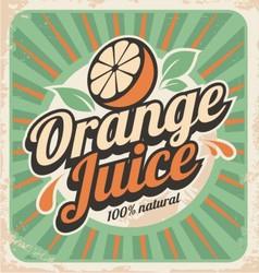 Orange juice retro poster vector image