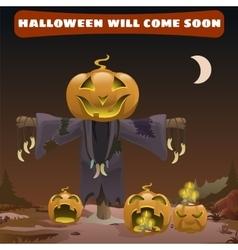 Scarecrow smile head pumpkin vector image vector image