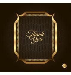 Thank you Golden frame Vintage gold background vector image