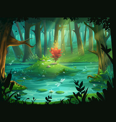 The scarlet flower on an island in a swamp in the vector