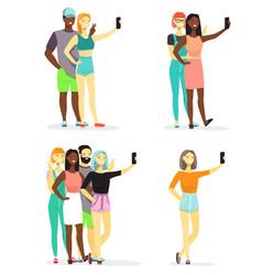 young diversity people taking selfie flat vector image