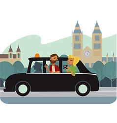 Young tourists in taxy vector image vector image