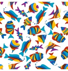 Bright colorful exotic fishes seamless pattern vector image vector image