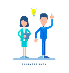 businesswoman and businessman standing business vector image vector image