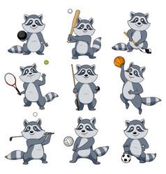 cartoon raccoon play sports mascot icons vector image