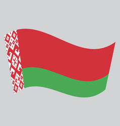 flag of belarus waving on gray background vector image