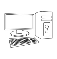 Locked computer icon in outline style isolated on vector image vector image