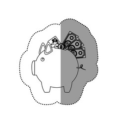 monochrome contour sticker of piggy bank with vector image vector image