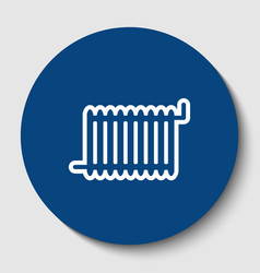radiator sign white contour icon in dark vector image vector image