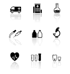set medical icons with reflection vector image
