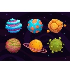 Set of cartoon fantasy planet vector image vector image