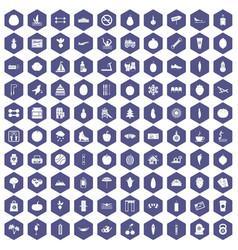 100 wellness icons hexagon purple vector