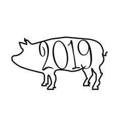 2019 year pig vector