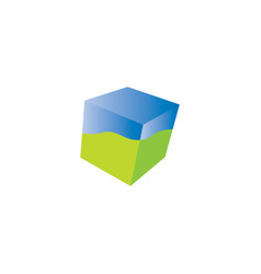 3d abstract square cube stacked boxe logo vector image