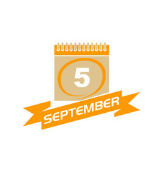 5 september calendar with ribbon vector