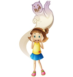 A ghost scaring a young girl vector