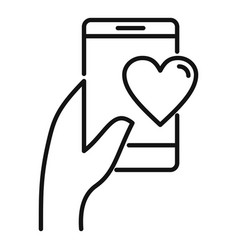 Affection phone sms icon outline style vector