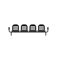Airport seats black simple icon vector image