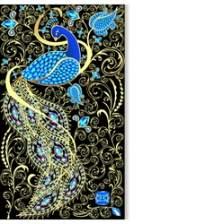 Background with peacock with gold ornament vector