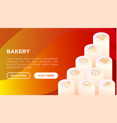 bakery concept with thin line isometric icons vector image