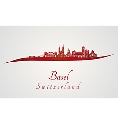 Basel skyline in red vector image