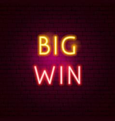 big win neon sign vector image