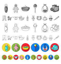 birth of a baby flat icons in set collection for vector image