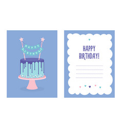 Birthday greeting card with cake vector