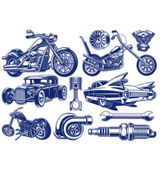black and white of transportation theme vector image