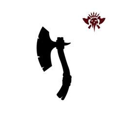 black silhouettes barbarian axe vector image