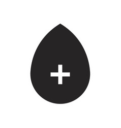blood drop icon with plus vector image