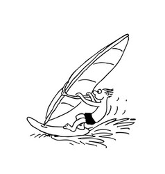 Boy playing windsurfing outlined cartoon handrawn vector
