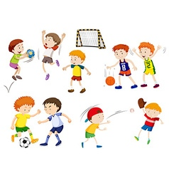 Boys playing different sports vector image