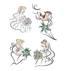 Bride with bouquet icons vector