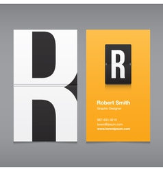 business card letter R vector image