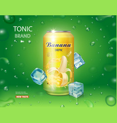 can with banana juice package design advertising vector image