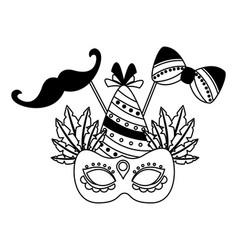 carnival mask hat mustache party vector image