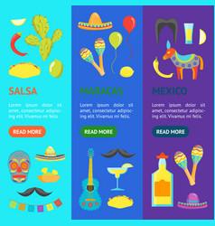 cartoon symbol of mexico banner vecrtical set vector image
