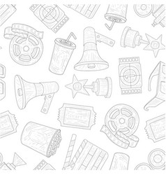 cinema seamless pattern movie production symbols vector image