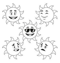 Collection funny sun cartoon outline vector