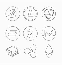 collection of crypto currency coins bitecoin vector image