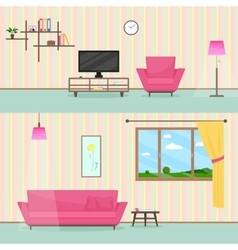 Colorful flat style livingroom interior vector