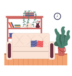 Cozy interior room at home sofa with pillows vector