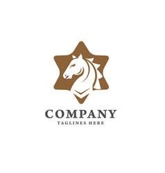 creative horse and star logo concept vector image