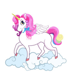 cute white unicorn on clouds isolated on white vector image
