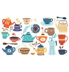 doodle cookery cartoon porcelain bowl mug vector image