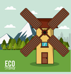 Eco lifestyle windmill rural energy clean vector